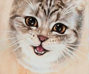 animals, cat, and water colour image