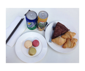 chocolate cake, pineapple juice, and croissant image