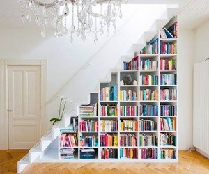 books, design, and stairs image