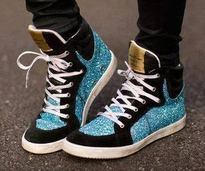 shoes, blue, and sneakers image