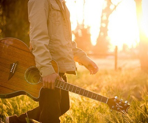 guitar, boy, and sun image