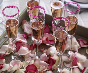 champagne, luxury, and flowers image