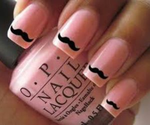 moustache, nails, and pink image