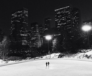 couple, ice skating, and new york image