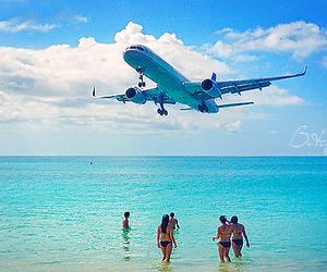 airplane, beach, and sea image