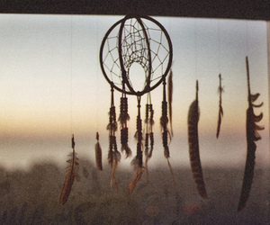Dream, dream catcher, and feather image