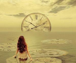 girl, time, and sea image