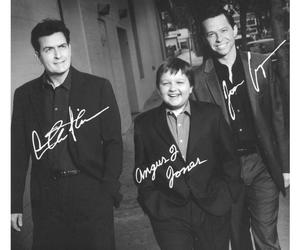 charlie sheen, miss, and black and white image