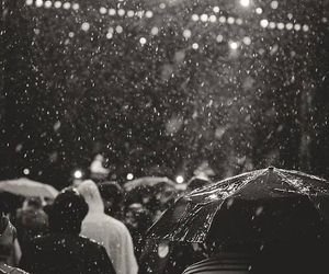 rain, black and white, and people image