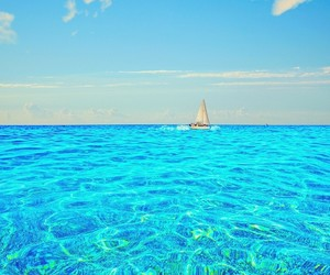 boat, ocean, and water image