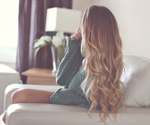 blonde, sweater, and hair image