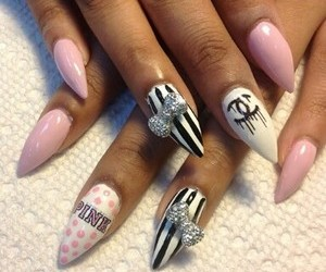 chanel, stripes, and nails image