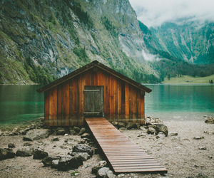 house, lake, and mountains image
