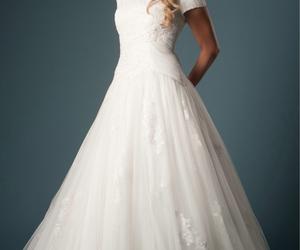 dress, modest, and wedding image