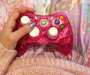 pink, xbox, and controller image