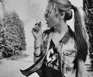 girl, black and white, and ACDC image