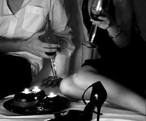 black and white, passion, and wine image
