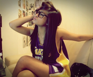 brunette, lakers, and cute image