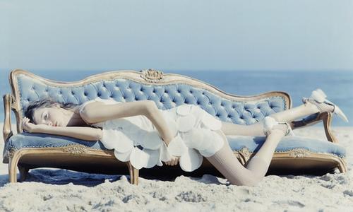 beach, dress, and blue image