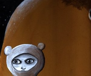 bear suit, eyes, and painting image