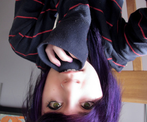 piercing, purple hair, and separate with comma image