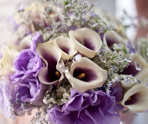 flowers, purple, and wedding image