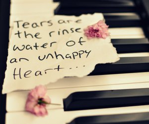 piano, tears, and quote image