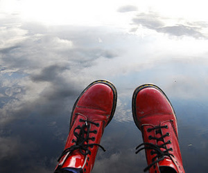 red, boots, and dr. martens image