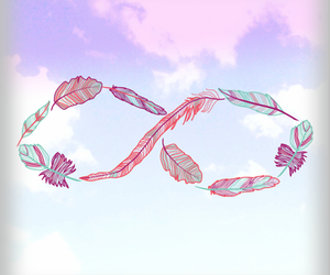 infinity, sky, and feather image
