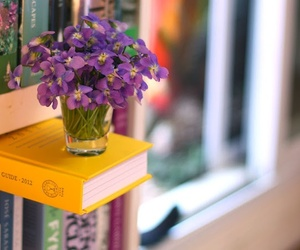 books, flowers, and islove image