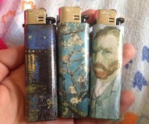art, lighter, and van gogh image
