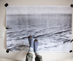 sea, socks, and art image