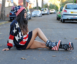 america, sweater, and american flag image