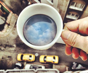 clouds, taxi, and coffee image