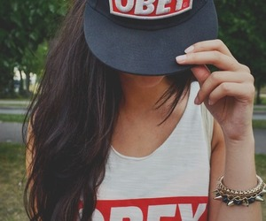 obey, girl, and cap image
