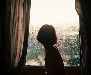 girl, window, and rain image