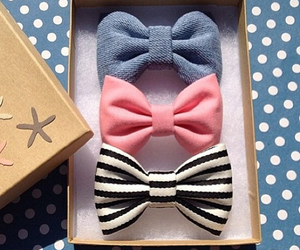 bow, blue, and pink image