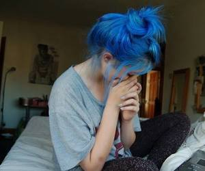 blue, hair, and *-* image