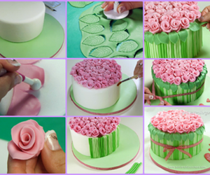 cake, flowers, and diy image