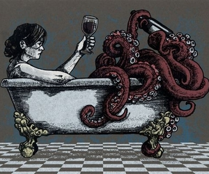 octopus, art, and wine image