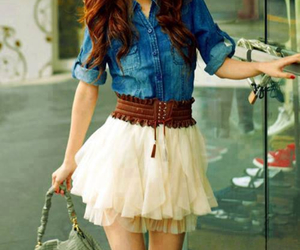 cute denim skirt outfit image