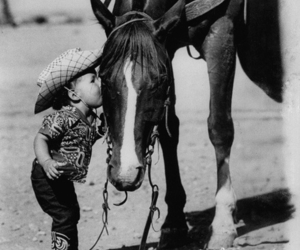 horse, kiss, and child image