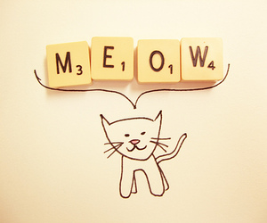 cat, meow, and scrabble image