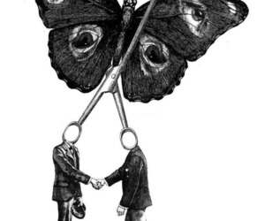 butterfly, black and white, and people image