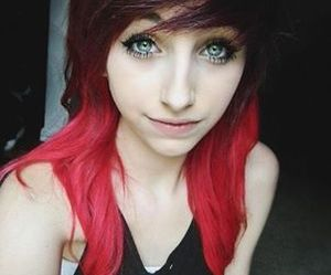 red, girl, and hair image