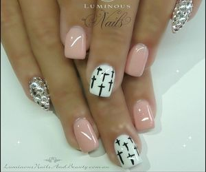 girly, acrylic nails, and french tip image
