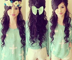 hair, outfit, and flowers image