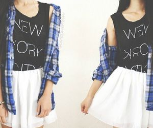 fashion, skirt, and flannel image