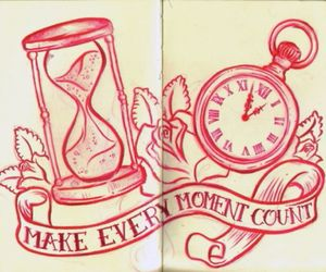 creative, pocket watch, and red ink image