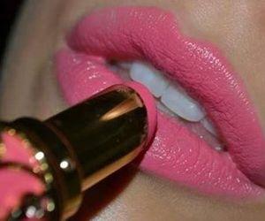 pink, lips, and lipstick image